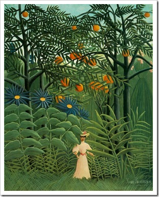henri rousseau woman walking in exotic forest