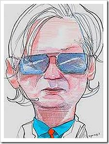 Julian Assange cartoon drawing