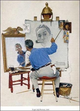 pic 1 Triple Self Portrait Norman Rockwell