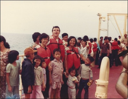 Lauren Vuong and Family on Rescue  Ship 1980