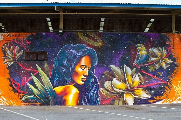 Pic 7 Coral Street murals is this elegant Hawaiian maiden by Oahu-based designer