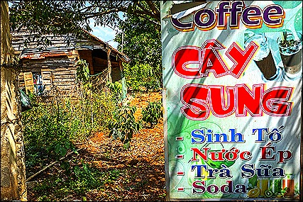 wooden house and coffee sign in Krong Buk