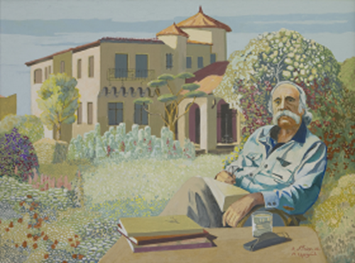Saroyan in front of his estate - as painted by R. Antoian - Fresno, CA