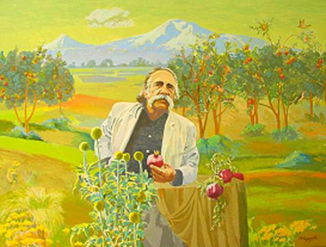 William Saroyan - painting by Rafael Antoian - Armenian Museum of Fresno, CA