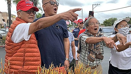 Trump people argue with Biden people in Little Saigon