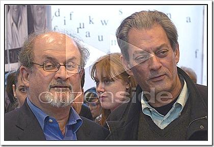 salman rushdie and paul auster at the paris bookfair