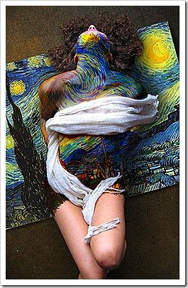 Starry Night Body Paint - Woman Graffiti Body Painting