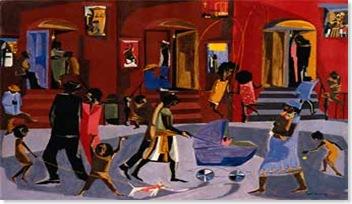 brownstones, 1958 by Jacob lawrence